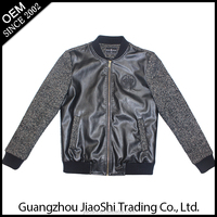 OEM customized size leather and polyester black gray jacket man for men with free sample supply