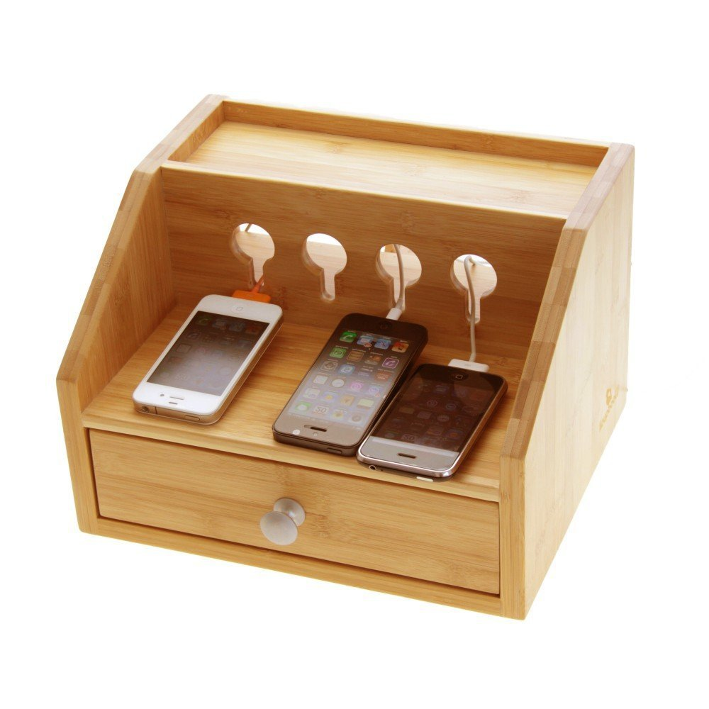 Gadgets Desktop Organiser Cable Tidy With A Drawer Holes For Charging Phones Players Cameras