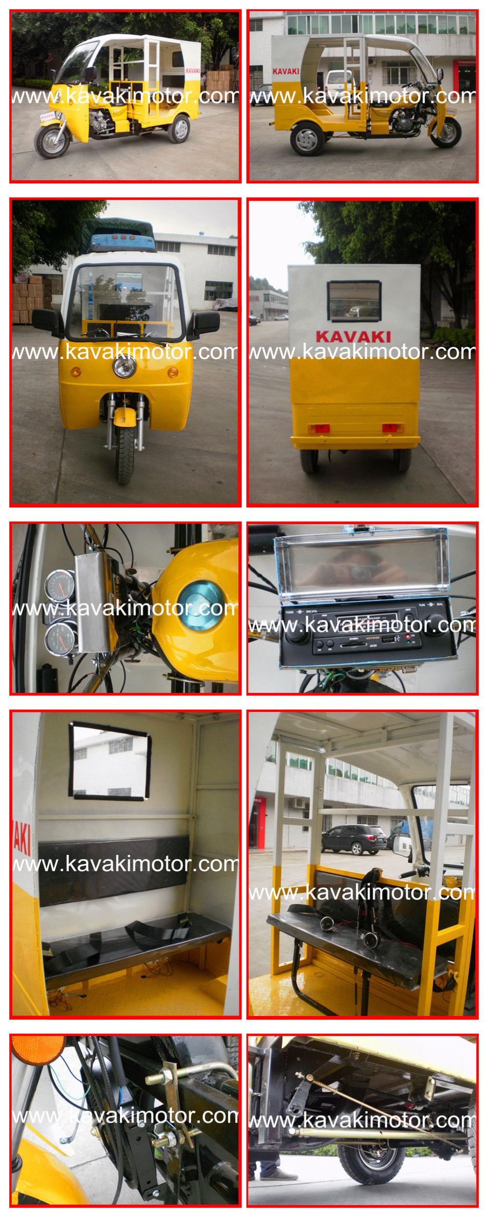 Factory Oulet Petrol Powered Similar As Indian Bajaj Auto Rickshaw Passenger Tricycle Taxi / Three Wheel Tourist Tricycle