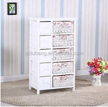 Bedroom Storage Dresser Chest 5 Drawers w/ Wicker Baskets Cabinet Wood Furniture