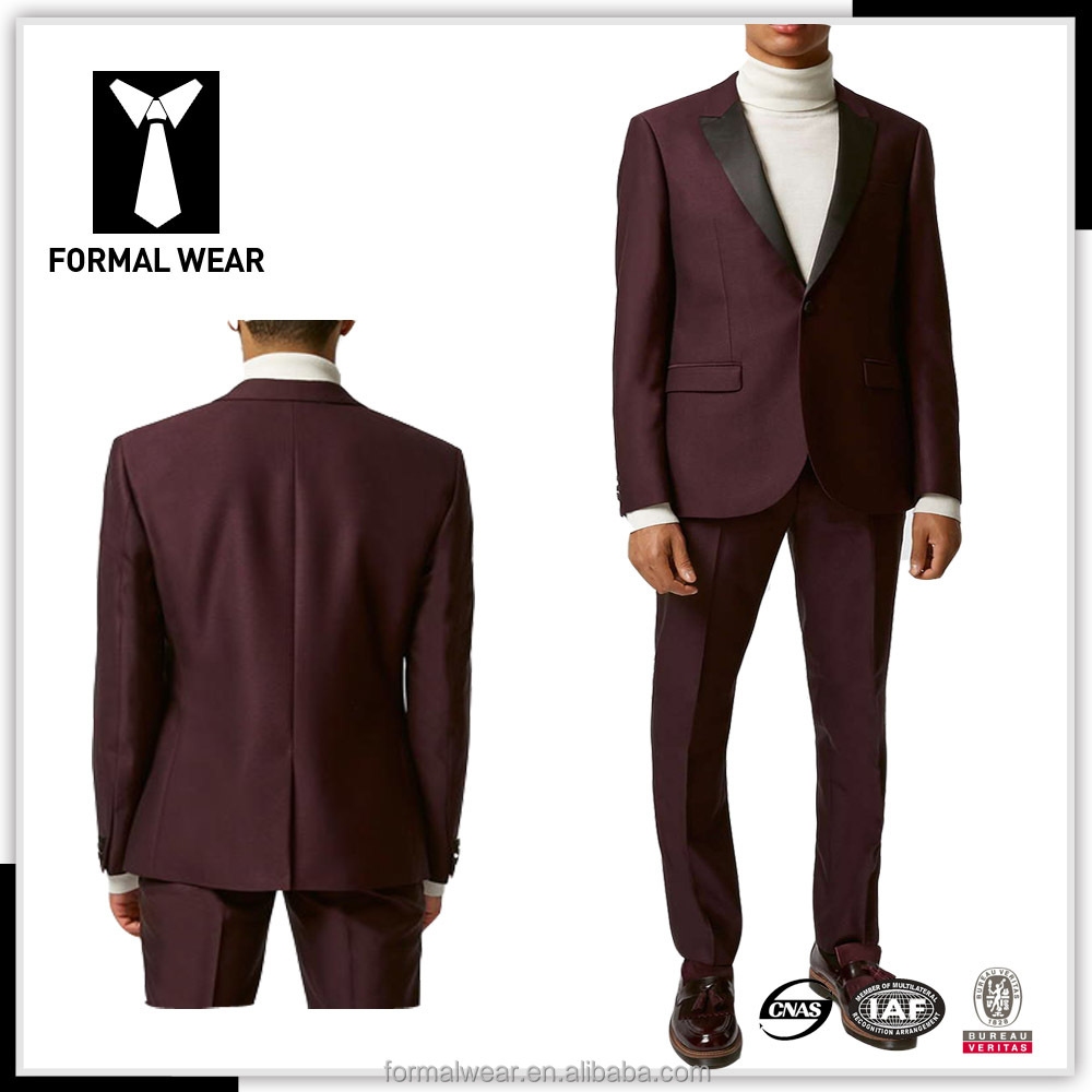Custom made hot sale wine color latest design coat pant men wedding suit