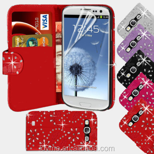 For Samsung Galaxy S5 Bling Diamond PU Leather Wallet Case Cover