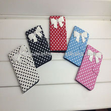 White Bow knot Cute Polka Dots PU Leather Wallet Case Cover For HTC One M7,Case For HTC One M7