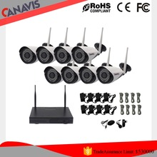 Cctv security 720p NVR Kits 8 channel camera system with 8 cameras