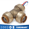 Sharkbite style lead free brass push fit fittings for pex pipe copper pipe