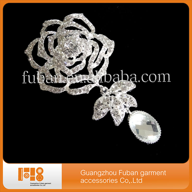 New Elegant Luxury Rose Long Flower Leaf Silver Plate Art Nouveau Brooch Pin Clear Rhinestone Crystal