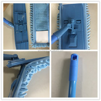 Chenille flat mop with detachable Plastic mop board