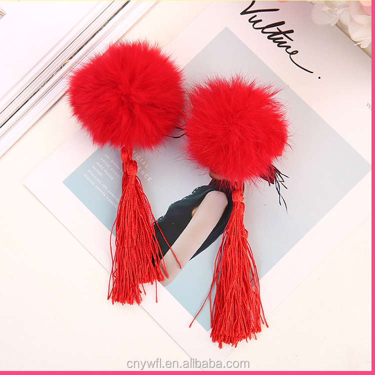 New arrival hot selling baby tassel hair clip jewelry vintage Chinese traditional kids hair accessories rabbit fur ball hairclip