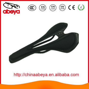 Full carbon mountain bicycle saddle covered with leather
