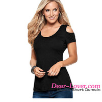 New Fashion Design Ladies Black Crochet Back Cold Shoulder Smart Top