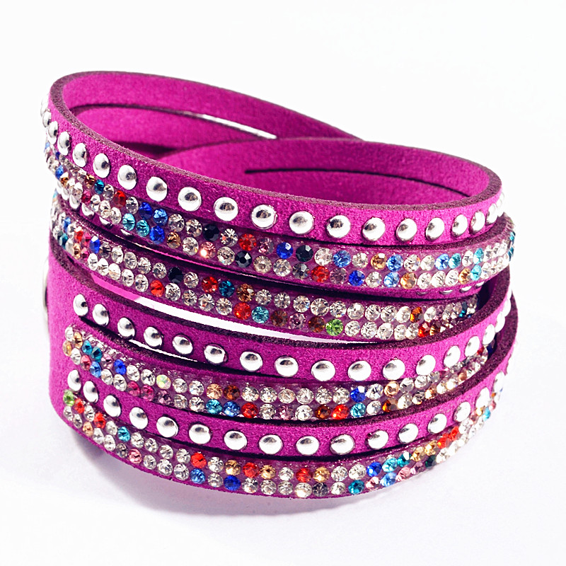 China jewelry factory adjustable bracelet clasp crystal leather bracelet