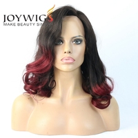 "2016 Joywigs 14 "" Ombre Color Short Bob Elastic Band Brazilian Hair Glueless Full Lace Wig"