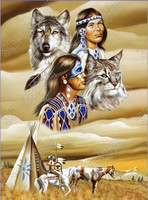 American indian and wolf image 3D moving deep look art picture for decoration