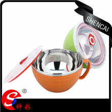 Promotional gifts plastic kids stainless steel japanese noodle bowl with lid
