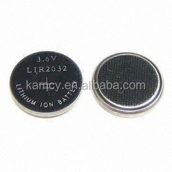 3.6V button cell LIR 2032 2450 2477 3.6v round rechargeable button cell