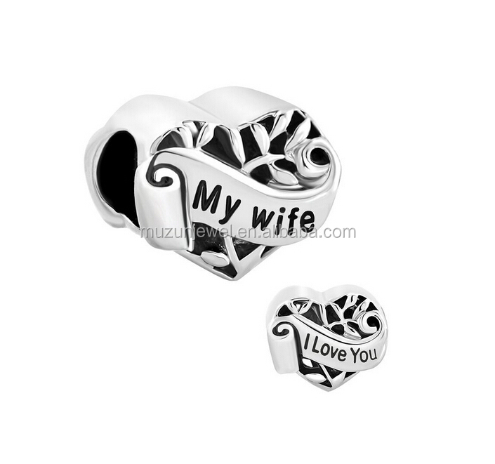 Latest design Heart I Love You My Wife Charms 925 Sterling Silver Jewelry Beads