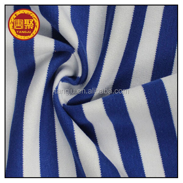 navy blue and white stripe weft knitted single jersey fabric