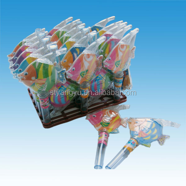 Children love gift tablet candy in goldfish shape plastic bottle candy toy with EN71