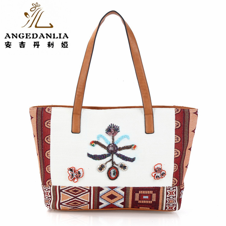 Leather handle Indian hand embroidered vintage hippie ethnic ladies tote bag