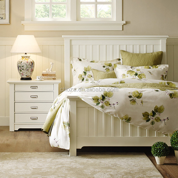 F50004A-1 French style wooden bedroom furniture white solid wood bed