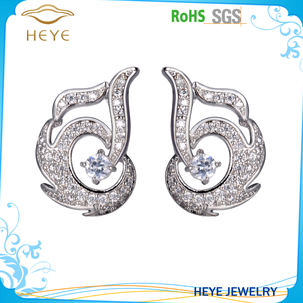 Wholesale white stone metal indian bridal jewellery clip on earrings
