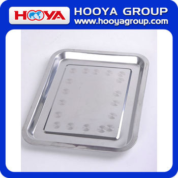 32*27CM Rectangle Stainless Steel Kitchen Tray Salver