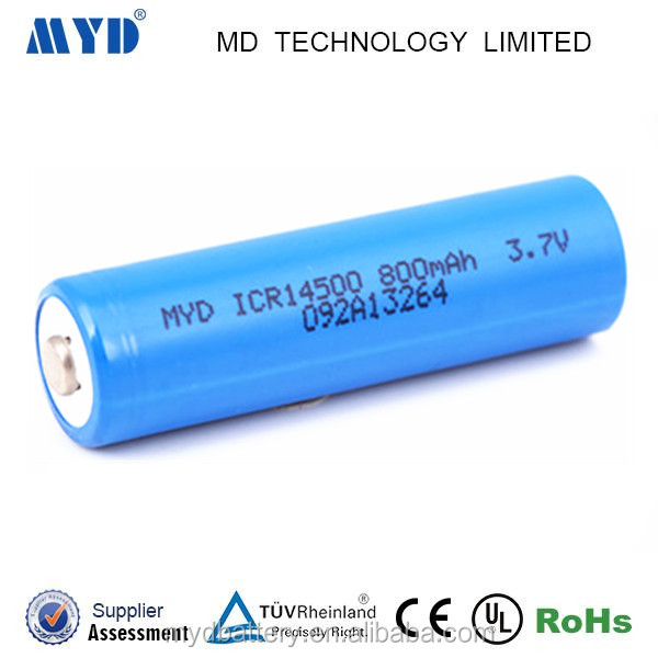 China supplier ICR14500 3.7v 800MAH lithium ion battery with high energy density