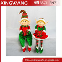 Indoor elf christmas decoration plush christmas elf doll sitting on the shelf with gift bag