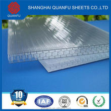 pc roof hollow sheet in greenhouse plastic honeycomb sandwich panels expllsion-proof with 10 years guarantee