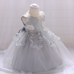 Grey Color Elegant Frock Fashion Lace Newborn Girl Dress Party Wear I5003