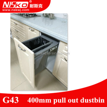 Kitchen Cabinet Pull Out Dustbin Plastic Waste Container Kitchen