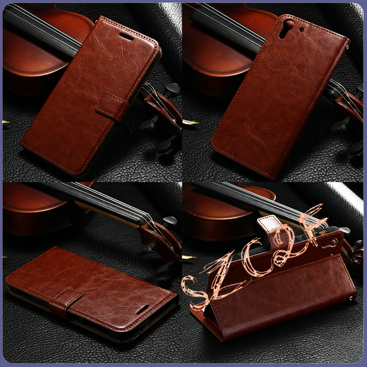 Wallet holster leather flip mobile phone case stand cover for htc desire 728 back cover case