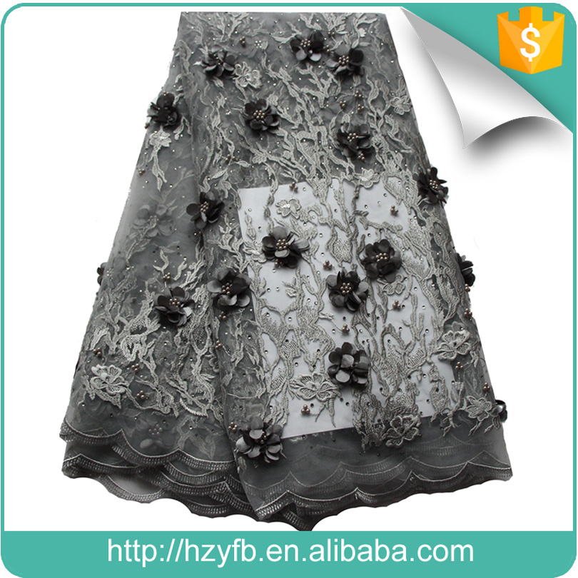 Popular grey 3D wedding dresses african lace fabrics tulle beaded