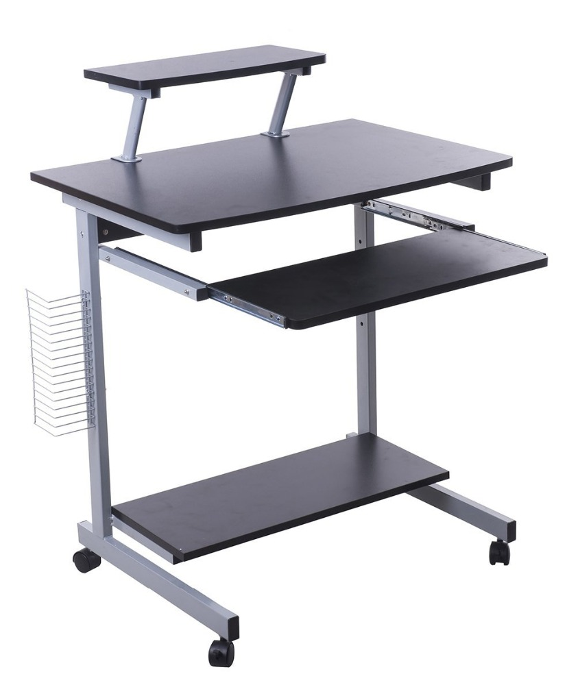 Simple design metal computer desk with wheels/laptop stand