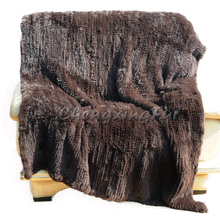 CX-D-95B 200X150CM Wholesale Soft Brown Knitted Genuine Rabbit Fur Throw Blanket Wedding Decorative Blanket Mat