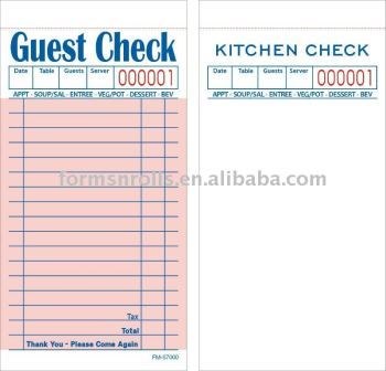 Guest Check Docket Book FM-S7000