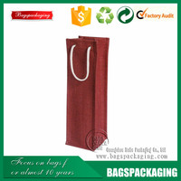 Single bottle red burlap fabric jute bag for wine
