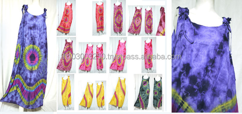vintage retro thai style HIPPIE BOHO tie dye handmade sleeveless kaftan maxi dress