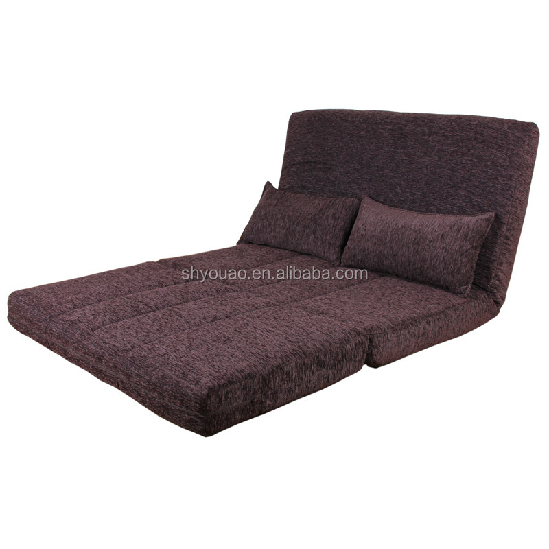 designer chenille fabric sofa/low floor fabric double sofa bed B84 for living room