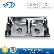 Handmade Double Bowl Wash Trough With Drainboard Stainless Steel Hand Sink