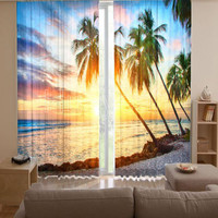 Sanya scenery 3D digital printed curtain fabric