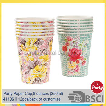 Bridal Tea Garden Party Paper Cups