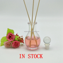 Hot selling 50ml glass flower vase for home deco/clear reed diffuser glass container 50ml aroma round glass diffuser