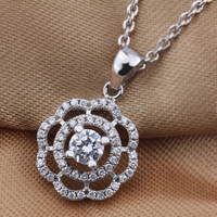 Boojew factory direct selling round flower shape 925 sterling silver pendant platinum plated jewelry