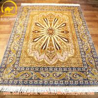 Handmade persian pure silk carpet rug , 4x6 size gold color modern carpet price