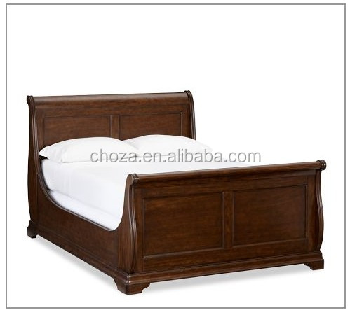F40107A-1Graceful carved wood bed,antique solid wood bedroom sleigh bed