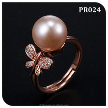 costume jewellery from China , attractive animal jewelry butterfly pearl rings