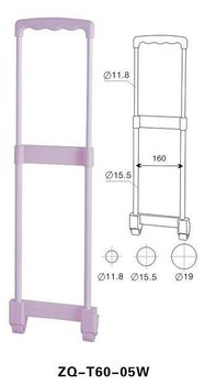 ZQ-T60-05W Pink Children Bag Telescopic/Extendable/Retractable/Expandable Trolley Handle
