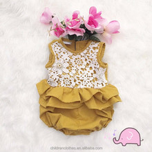 Yiwu factory wholesale kids clothing new style Lovely floral lace baby romper