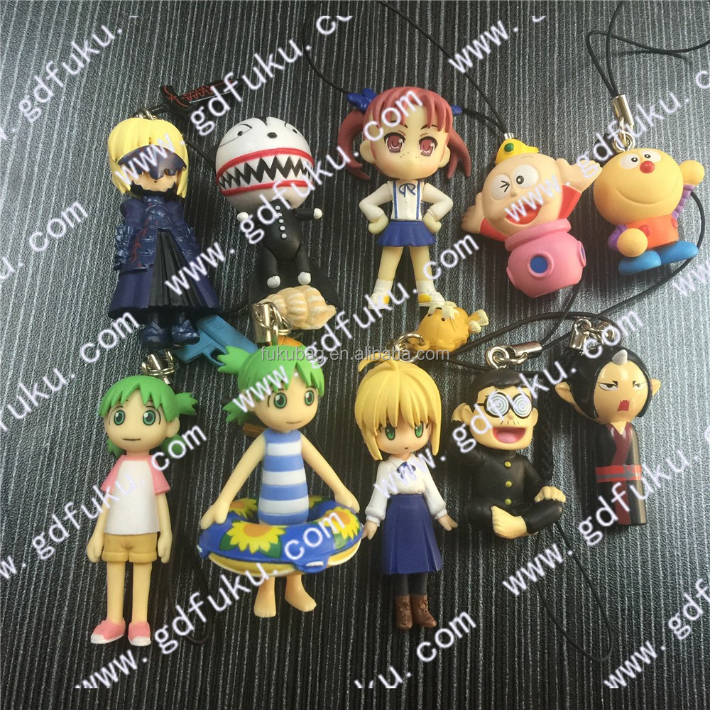 figure action/Japanese cartoon mini figure , plastic Strap-charm mascot/OEM factory